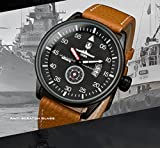 INFANTRY® Herren Analoges Quarzwerk Armbanduhr Datum Sport Braun Leder Band World of Tanks - 4