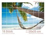 Graz Design 761006_20x25_80 Fliesenaufkleber Strand mit Hängematte | Bad-Fliesen mit Fliesenbildern überkleben (Fliesenmaß: 20x25cm (BxH)//Bild: 120x80cm (BxH))