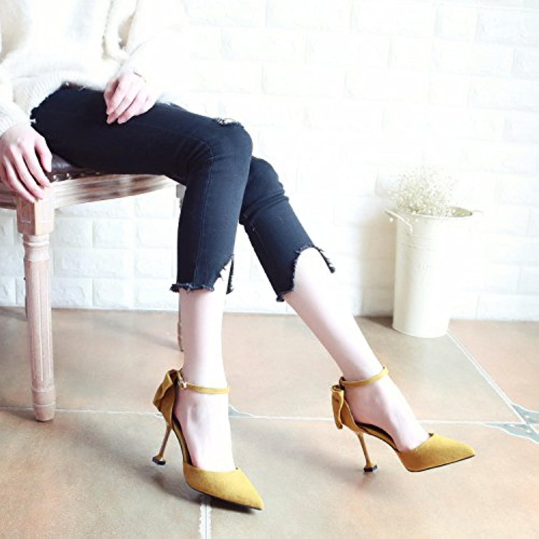 Xue Qiqi Corte Fino Hueco Correa ranurada Zapatos Zapatos de Mujer con Tacones Altos y Pajarita Elegante Punto...
