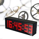 LambTown Reloj Grande de la Pared del LED con Múltiples Alarmas Calendario Temperatura Luz de Noche Cuenta Regresiva - Rojo