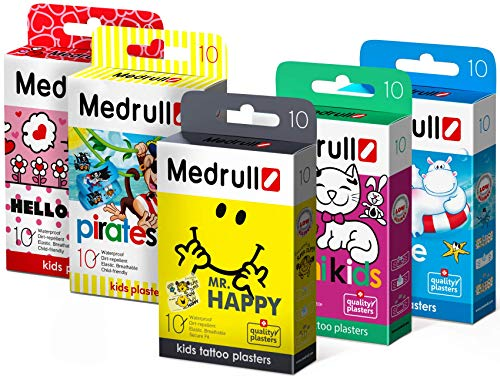 Medrull Pflaster für Kinder im Set 5er Box Mr HAPPY – Hello KITTY – MIMI Kids – Piraten – Marine 50 Stück