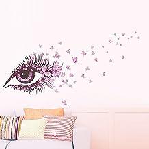 Skyllc® Ojo de las mujeres de color rosa con el vuelo de las mariposas del estilo del arte mural del papel pintado desprendible de la pared creativa Las etiquetas engomadas del vinilo de la decoración de la decoración del hogar
