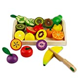 Obst Gemüse Holz Spielzeug Schneidebrett mit Früchten Kuchen Vorgeben Rollenspiele Kinder Schneidebrett mit Früchten Nahrungsmittelgruppen für Kinder 3 4 Jahre Alt (21-tlg)