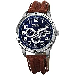 August Steiner Men's Multi-function Quartz Watch with Blue Dial Analogue Display and Brown Leather Strap AS8116BR