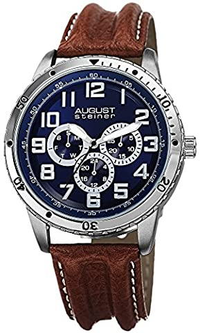 August Steiner Men's Multi-function Quartz Watch with Blue Dial Analogue Display and Brown Leather Strap