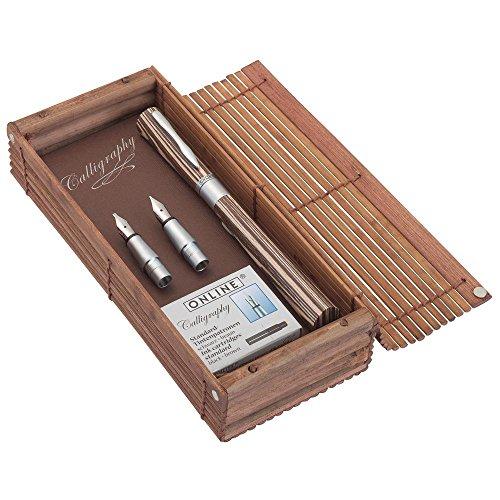 ONLINE 37713 Kalligrafie-Füllhalter Newood aus Wawa Holz I mit den Federstärken 0,8mm - 1,4mm - 1,8 mm I  in Bamboo Box