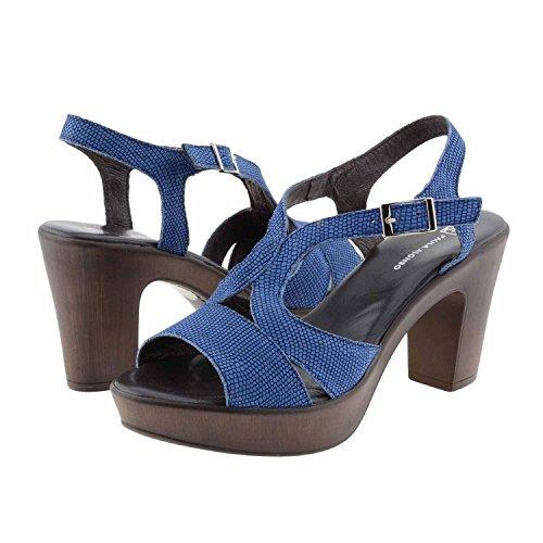 strisce sandali di cuoio incrociate Misure: 39 Colore: BLU