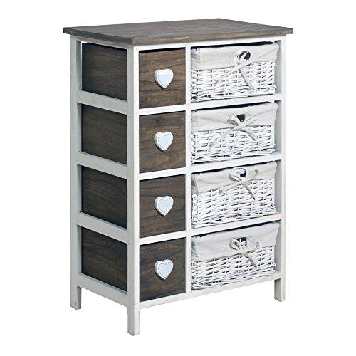Rebecca srl cassettiera mobile bagno 8 cassetti cuore paris legno scuro vimini bianco vintage shabby chic (cod. 0-1476)