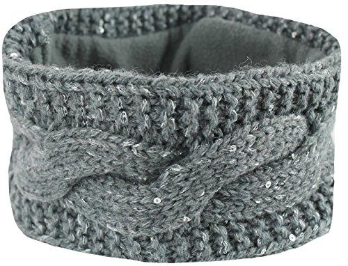 Mevina Damen Haarband elastisch Stirnband gestrickt Fleece-Futter Pailletten Zopf Strick Anthrazit A1292