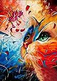 Bunt Cat Diamant Bild 5D Stickerei Gemälde Strass eingefügt DIY Diamant Malerei Kreuzstich für die Familie. Spaßgeschenke für Ihre Eltern, Kinder, Freunde und Mitarbeiter 30 x 40 cm