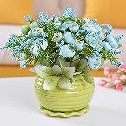 Einfache und Wohnzimmertischtopf künstliche Blume künstliche Blumendekoration Hauptdekoration Blumenblumenanzugs silk Blumendekoration hellblaue Teezeremonie blaues+grünes Bassin
