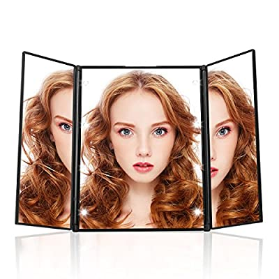 Tri-Fold Lighted Led Mirror - Travel Mirror Compact Pocket Makeup with Portable 8 LED Lights - inexpensive UK light store.