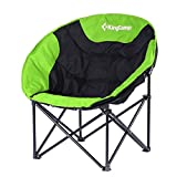 KingCamp Moon Leisure Camping Chair without Cup Holder Steel Frame Folding Padded Round Portable Stable with Carry Bag for Outdoor Activities