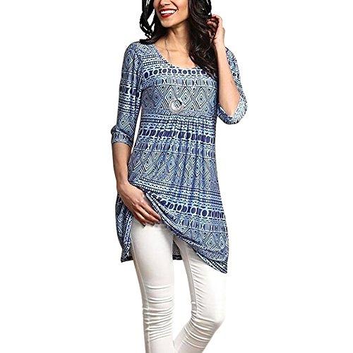 Miavogo Damen Lang T-Shirt Bluse Oberteile A Linie mit Blumen Casual Elegant (Ärmel Lange Falten-bluse)