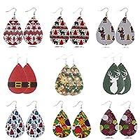 Brownrolly 9PCS Leather Earrings Teardrop Dangle Earrings Petal Drop Earrings Jewelry Christmas Earrings Gifts for Women & Girls
