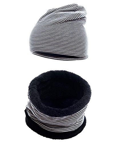 Fleece Snowboard Beanie (Hilltop Kinder Set: Kinder Kurz-LOOP-Schal mit Teddy Fleece und passende Beanie-Mütze , Kinder Set / Farbe:Kopfumfang 52-58 cm. 354-1)