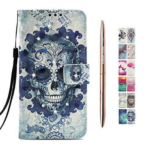 Kawaii-Shop kompatibel mit Samsung Galaxy A9 2018 Ledertasche Flip Case Marine-Schädel Schutzhülle Klapphülle Wallet+Roségold Kugelschreiber