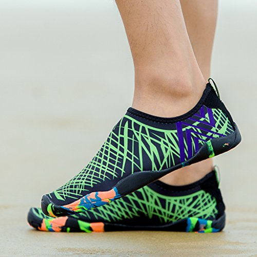 DoGeek Scarpe da Spiaggia Scarpe Acqua Scarpe a Piedi Nudi Dell'Acqua Scarpe Acquatici per Unisex Scarpe Adulti Donna Uomini Verde