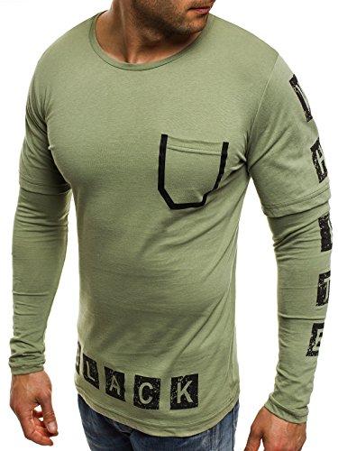 OZONEE Herren Longsleeve mit Motiv Langarmshirt Rundhals Figurbetont Shirt BLACK WHITE 1138 Grün