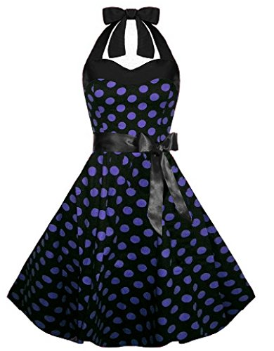 LUOUSE Vintage Damen Rockabilly 50er Polka Dots Kleid,DotPurple,S
