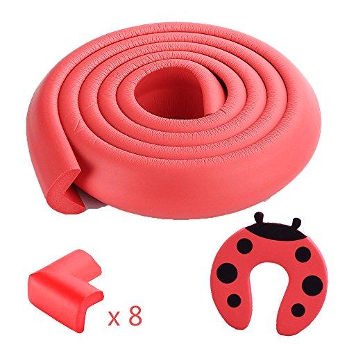 2 Meter Kantenschutz & 8 Foam Eckenschützer & Türstopper Set - Babyproofing Ihr Zuhause, Premium-Sicherheit im Haushalt Schutz, Rot