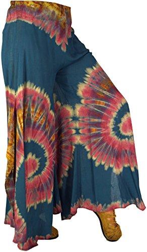 Guru-Shop Farbenfroher Batik Hosenrock, Damen, Viskose, Size:38, Lange Hosen Alternative Bekleidung Blau