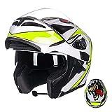 GSDZN - Motorradhelm Bluetooth Anti Nebel Anti-UV Vollgesichtshelm Halber Helm ABS-Schale Sicher Und Bequem,F-L