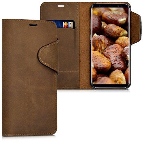 kalibri-Echtleder-Wallet-Hlle-fr-Samsung-Galaxy-S8-Case-mit-Fach-und-Stnder-in-Braun