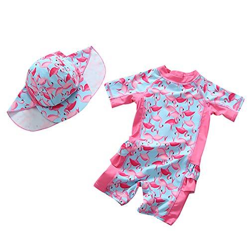 G-Kids Baby Mädchen Einteiler Badeanzug Bademode Set Kinder Niedlich Flamingo UV Schützend Schwimmanzug Badebekleidung mit Badekappen UPF 50+ (Rosa, Hohe 85-95cm)