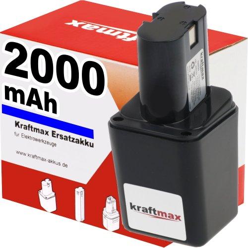 Preisvergleich Produktbild Kraftmax 9,6V Akku für BOSCH - 2000mAh / NI-CD - GSR 9,6VES / GBM 9,6VE / PSR 9,6VE / GSR 9,6VET / 2607300002 / 22607335176 / 9,6 V