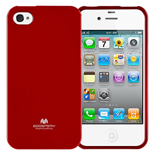 Goospery Marlang Marlang iPhone 4/4S Hülle, Gratis Displayschutzfolie [Slim Fit] TPU Fall [Flexibel] Pearl Jelly [Schutz] Bumper Cover für Apple iPhone 4S, Rot 4s Pearl Case Iphone