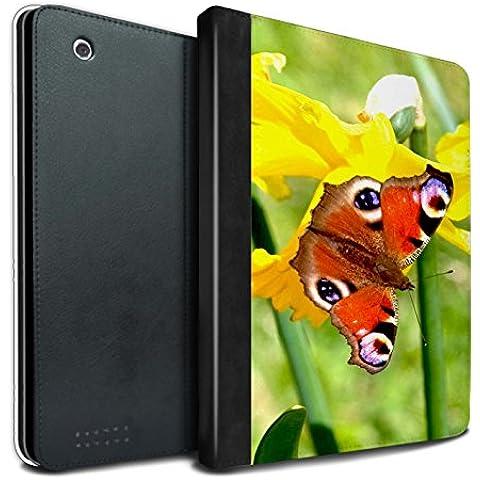 STUFF4 PU Pelle Custodia/Cover/Caso Libro per Apple iPad 2/3/4 tablet / Farfalla / Fiori del giardino floreale disegno
