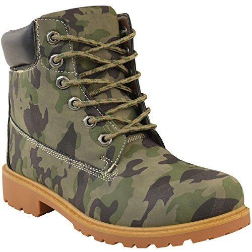 Damen Wander-Stiefel im Militär-Stil - mit Schnürung & Profil - Tarnmuster Khaki Nubuk-Imitat - EUR 41 (Militär Stiefel Damen)