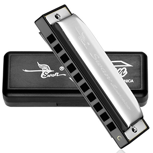 Swan® 10 Hole Key Of C Blues Harmonica Mouth Organ Silver SW1020-7