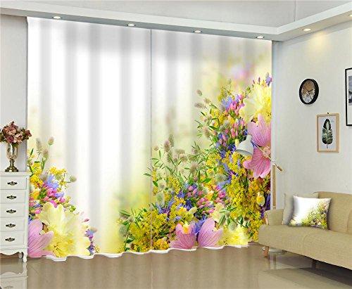 Dbtxwd tende 3d fiori colorati tessuti di stampa anti-uv tessuto spessore tenda camera da letto soggiorno decorazioni tende da finestra, wide 3.2x high 2.7