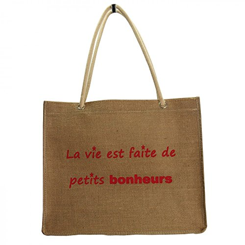 Shopping-et-Mode - Sac shopping en toile de jute Petits bonheurs - Beige, Toile de jute