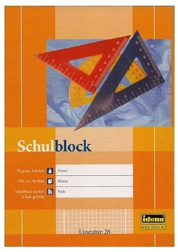 10 Stück Schulblock A4 kariert gelocht mit Rand