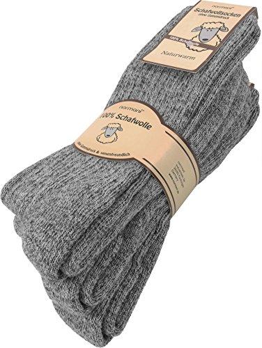 normani 3 Paar Wollsocken 100% Schafswolle Farbe Grau Größe 43/46