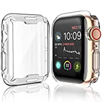 [2-Pack] Cover Case for Apple Watch Series 5 / Series 4 Screen Protector 44mm, iWatch Overall Protective Case TPU HD Clear Ultra-Thin Cover for Series 5/4 (44mm)