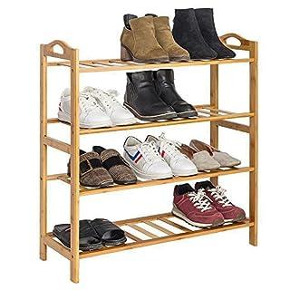 Bonnlo 100% 4 Etagen Natur Bamboo Schuhregal Lagerung Organizer Einfache  Bambus Schuhe Möbel Einheit Regal
