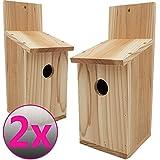 Set x2 casitas para pájaros Basic 30 x 14 x 12 cm (Alto x Profundo x Largo) - Nidos para pájaros de madera de conífera para aves pequeñas, estable y resistente a la intemperie