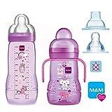 MAM Smart-Set Girls ab 4 Monate // Baby Bottle Easy Active Babyflasche 330 ml mit Sauger Gr.2 & MAM Trainer mit Sauger Gr.4 Tropffrei & Soft-Trinkschnabel