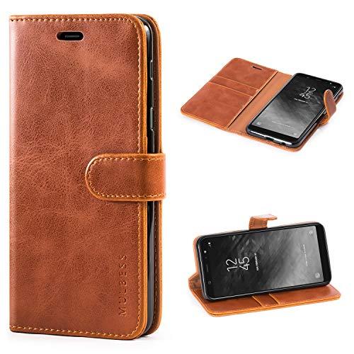 Mulbess Handyhülle für Samsung Galaxy A6 Plus Hülle, Leder Flip Case Schutzhülle für Samsung Galaxy A6+ Plus Tasche, Cognac Braun