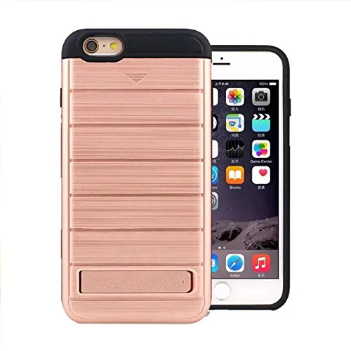 "iPhone 6 Coque,iPhone 6S Coque,Lantier Dual Layer Wallet Series Texture de métal brossé Housse de protection dur avec Kickstand et fente pour iPhone 6/6S 4.7"" Or rose Brushed Texture Rose Gold"
