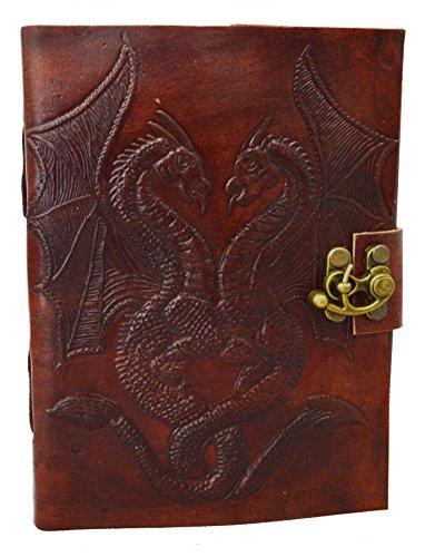 Diario de cuero hecho a mano con candado de Zap Impex, para escribir o dibujar, con hojas en blanco, cordón, y motivo de dos dragones (18 cm x 13 cm)