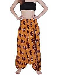 Elephant Printed Rajasthani Cotton Afghani Trouser Harem Pants For Unisex With Elastic Waist Band Pants & Capris...