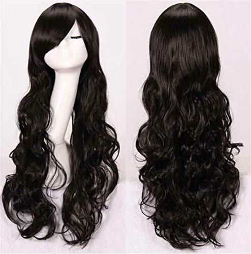 JIXIANG Langes gelocktes Haar der Perücke Cosplay 80cm Mehrfarbenpartykugel, schwarz
