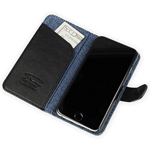 """QIOTTI >             APPLE iPHONE 6 PLUS / 6S PLUS (5,5"""")             < incl. PANZERGLAS H9 HD+ 2-in-1 Booklet mit herausnehmbare Schutzhülle, magnetisch, 360 Grad Aufstellmöglichkeit, Wallet Case Hülle Tasche handgefertigt  DENIM SCHWARZ"""