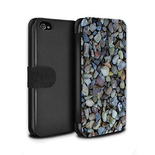 Stuff4 Coque/Etui/Housse Cuir PU Case/Cover pour Apple iPhone 4/4S / Cailloux des Plages Design / Pierre/Rock Collection Cailloux