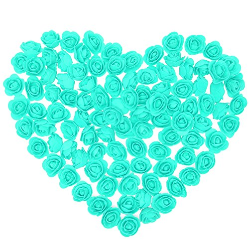Amosfun 500 stücke Künstliche Schaum Rose Köpfe für Hochzeit DIY Bouquets Party Tabelle mittelstücke Dekorationen 3,5 cm (Tiffany Blau)